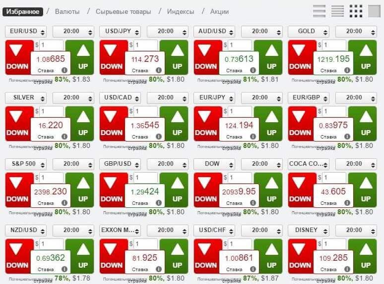 16 активов на экран без графика