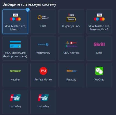 Платежные системы, с которыми работает ExpertOption