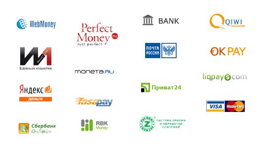 Платежные системы, с которыми работает Wforex