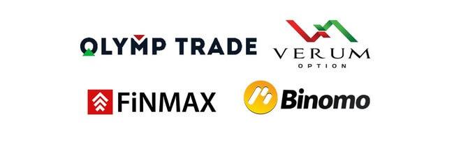 Логотипы брокеров бинарных опционов, у которых можно без вложений заработать