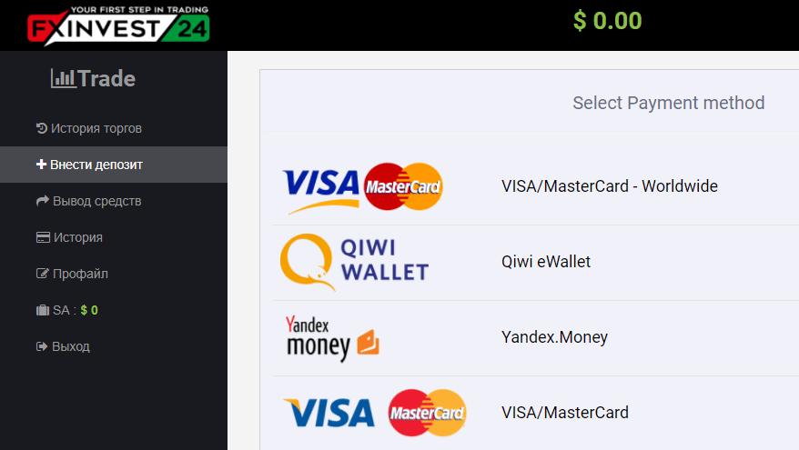 Пополнение счета на сайте Fxinvest24