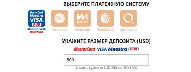 Платежные системы для внесения депозита в BinAmero