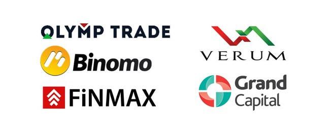 Логотипы лучших в России брокерских компаний бинарных опционов