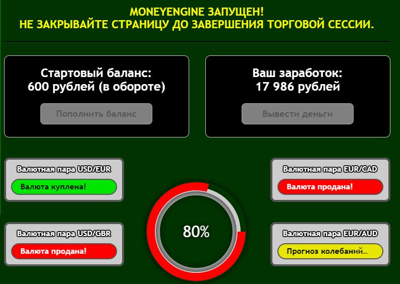 Работа программы MoneyEngine