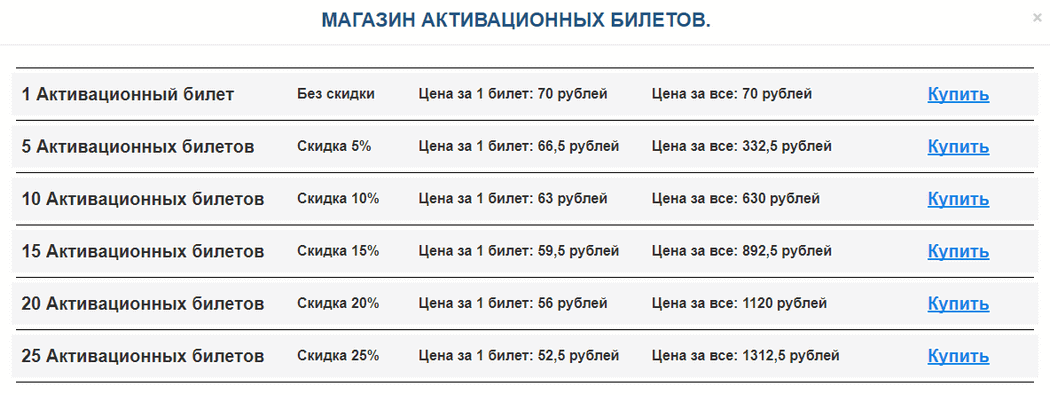 Покупка активационных билетов Portal for earnings