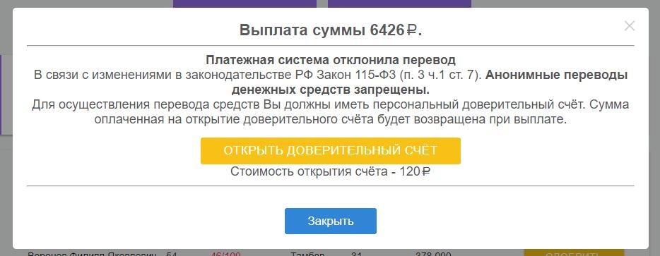 Сообщение об отклонении вывода средств с сайта Европейская микрокредитная организация
