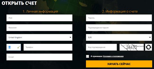 Регистрационная форма TorOption