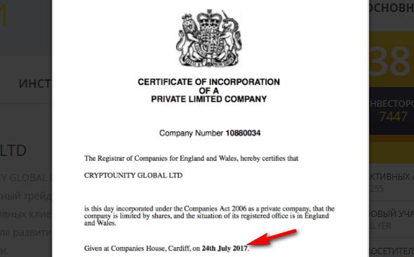 Свидетельство о регистрации компании CRYPTOUNITY GLOBAL LTD