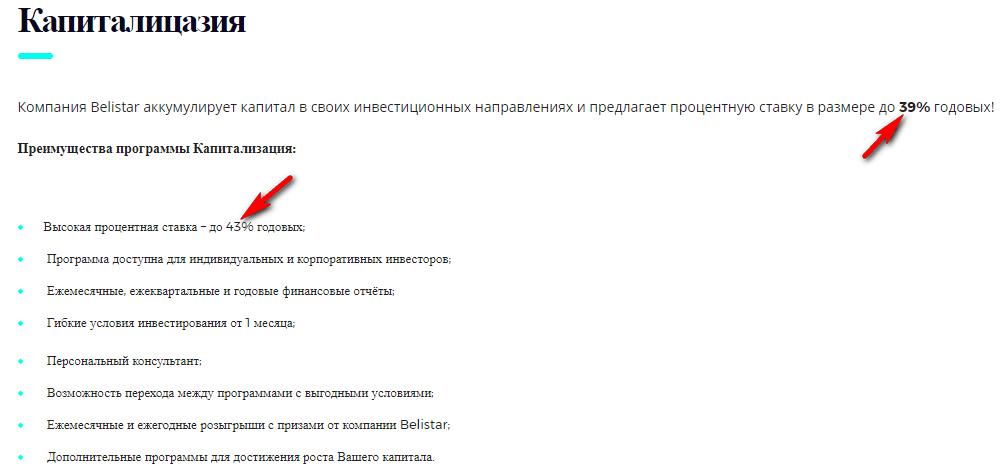 Описание программы капитализации от Belistar