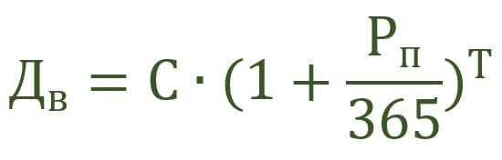 Формула для ежедневного прибавления процентов
