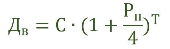 Формула для ежеквартального прибавления процентов