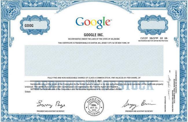 Акция компании Google