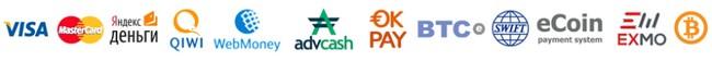 Логотипы платежных систем-партнеров GeoInvestGroup