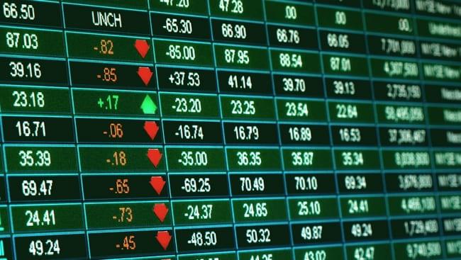 Таблица с инвестиционными инструментами в торговом терминале